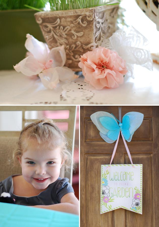 paper flowers, third birthday, butterflies