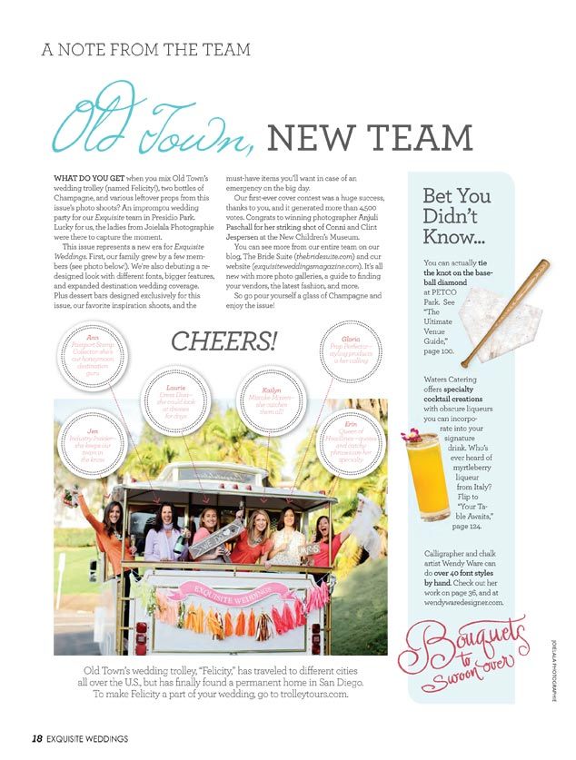 Exquisite Weddings Magazine Spring 2012 Staff Photo Banner