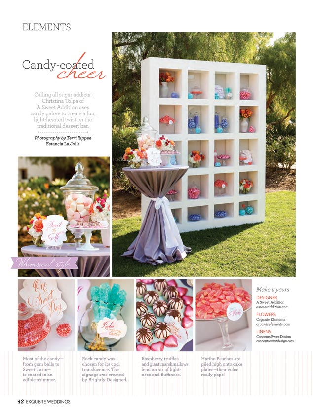 A Sweet Addition Candy Buffet Photoshoot Exquisite Weddings Magazine Spring 2012