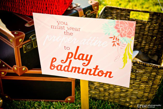 Badminton Wedding Sign