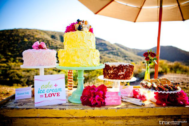 Cake and cookie wedding signage